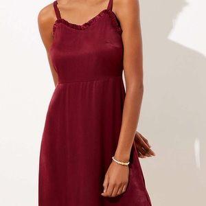 Loft Red Strappy Satin Dress